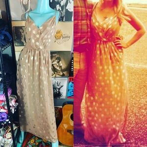 Deja Vu Polka Dot Metallic Tan Maxi Dress Pockets
